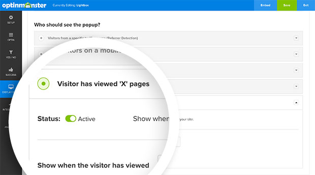 To load your optin based on the number of pageviews, in the Display Rules panel activate the Load on Pageview option.