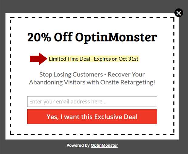 lightbox popup with coupon