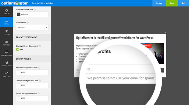 Once enabled your optin will show a default Privacy Statement text which can be edited.