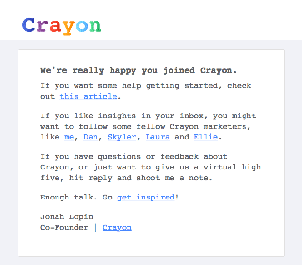 Crayon targeted email for new subscribers
