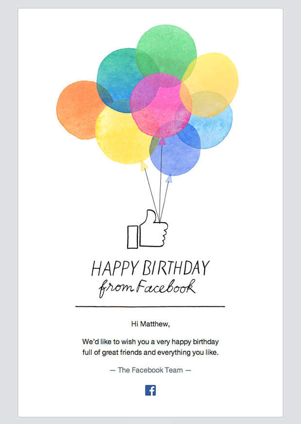 Happy birthday email from Facebook