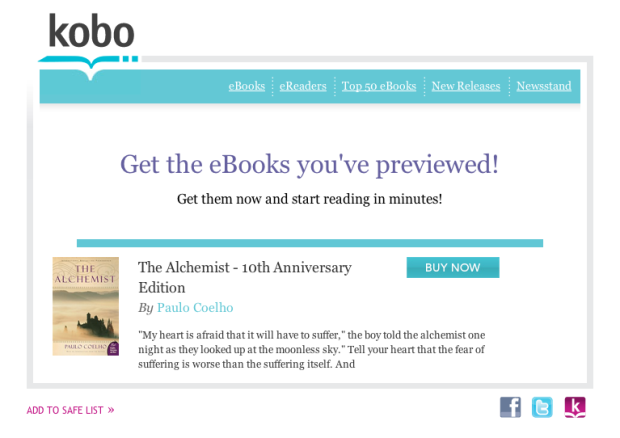 Kobo targeted email
