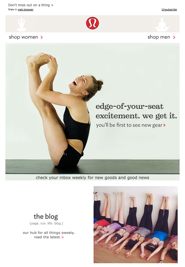 Lululemon welcome email