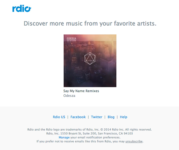 Rdio Interests email