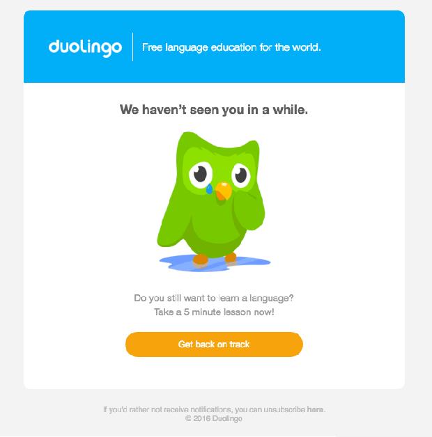 Ci manchi Duolingo Email
