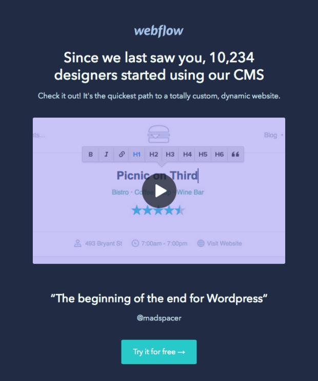 Webflow manchi la tua email
