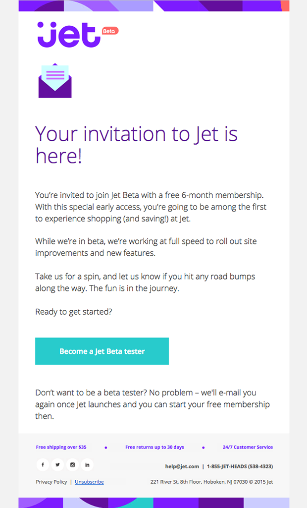 Jet Beta Access email