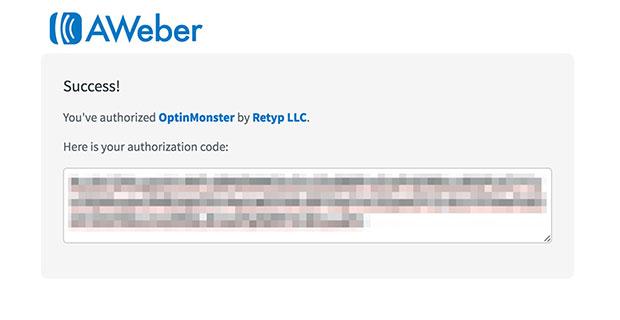 AWeber Authorization Code