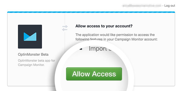 Campaign Monitor Allow Access Button