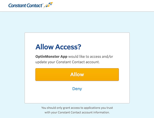 Constant Contact Allow Access