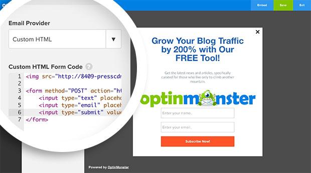 Optin Image Custom HTML Code