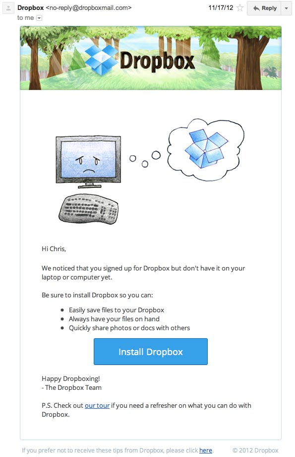 dropbox not installed email