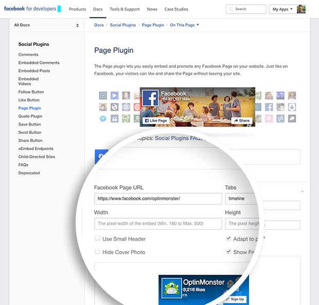 Enter your Facebook Page's details into the Page Plugin Generator fields.