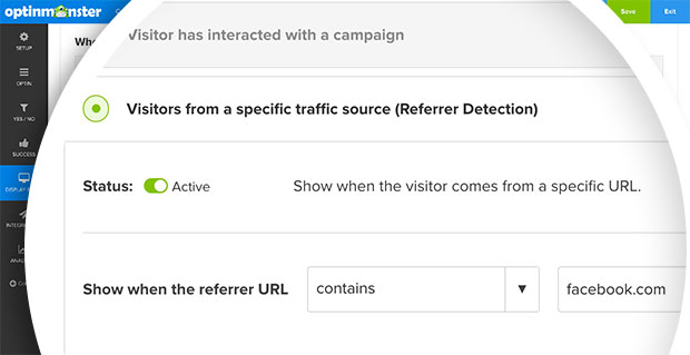 You can configure your campaign to load based on the referral domain using OptinMonster's Referrer Detection technology.