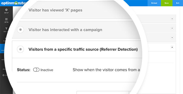 The Referral Detection option in the Display Rules panel.