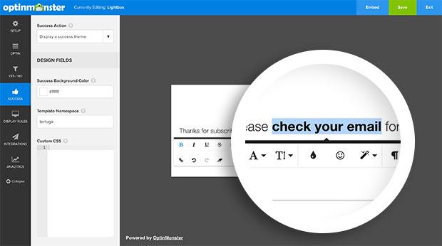 Success Message Text Edit Toolbar