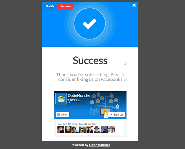 OptinMonster Success Facebook Like