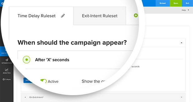 Two rulesets for this campaign allow it to load on Time Delay OR Exit-Intent