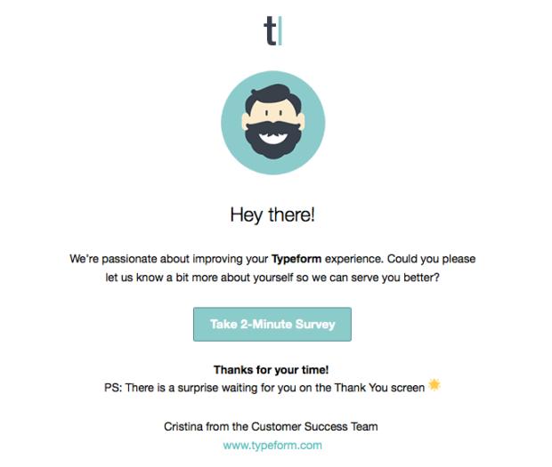 Typeform survey email