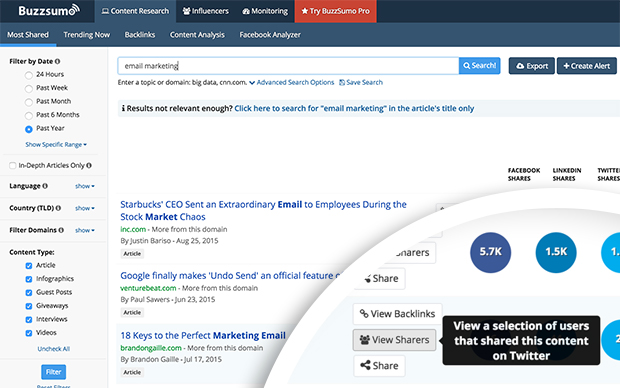 buzzsumo view sharers