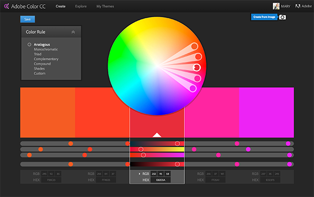 adobe-color-wheel to help choose colors for web design