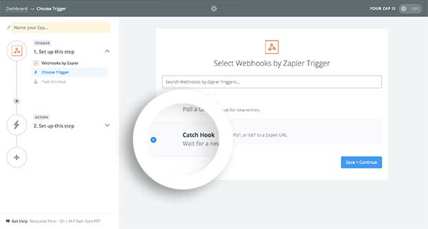 Select Catch Hook as the type of Webhook in Zapier.