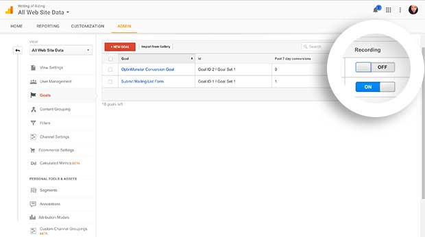 Enable Recording for your new Event Goal In Google Analytics.
