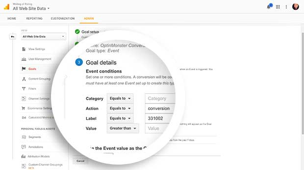 Enter details of the specific event you want to track in Google Analytics.