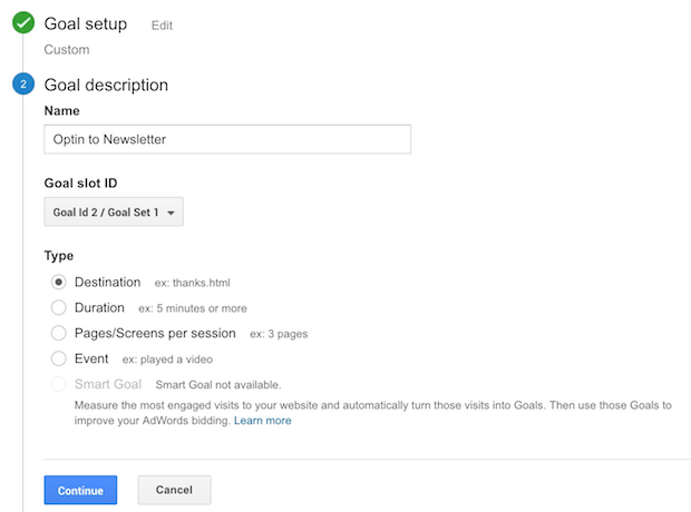 google analytics goal description