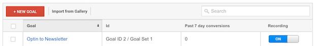 google analytics goal recording on