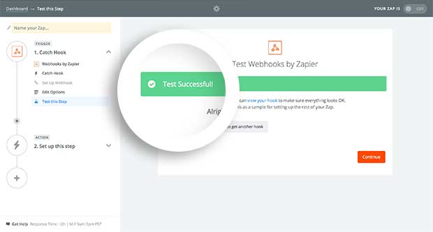 You'll see a success message once you've successfully tested your Webhook connection.