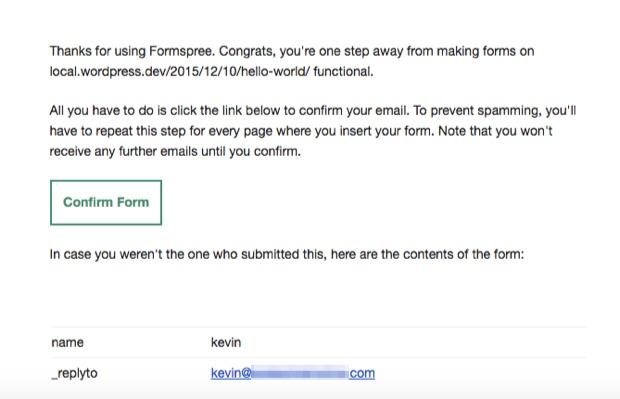 Confirm_Formspree_via Email