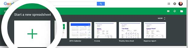 To begin, create a new Spreadsheet in your Google Sheets account.