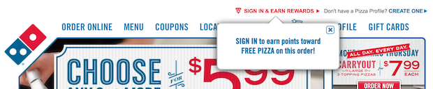 dominos popup