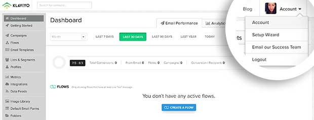 Once logged into your Klaviyo account, navigate to the Account page.