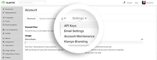 You can find your API Keys under the Account page's Settings menu.