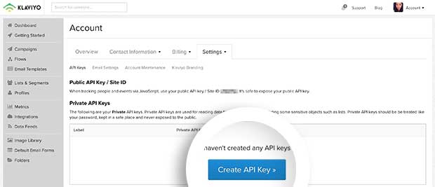 You can create a new API Key by selecting the Create API Key button in your Klaviyo account.