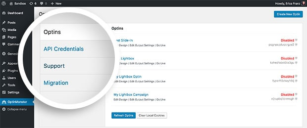 Within the OptinMonster plugin screen you'll find options to view your Campaigns, API settings, Support and optionally Migration if you've previously used our WordPress-only plugin.