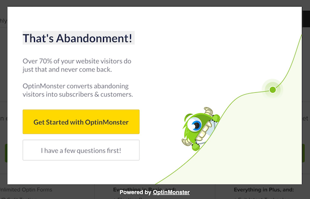 optinmonster pricing page popup