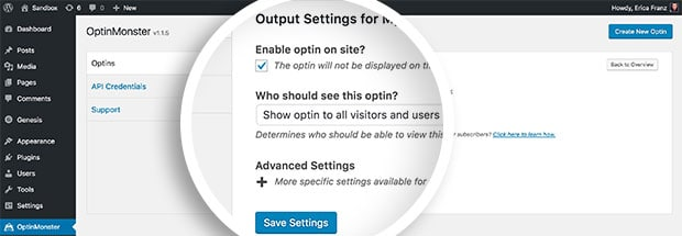 The Output Settings screen contains multiple options for controlling where the embed code for each optin is placed.