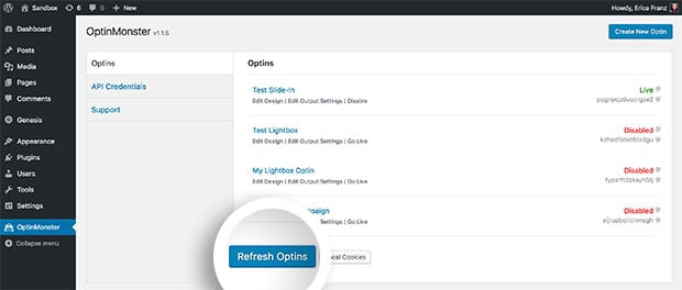 Select the Refresh Optins button to sync your campaign to WordPress.