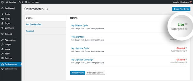 Any campaign this is live in the OptinMonster plugin will display the Live status in the right side of the Optins tab view.