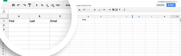 Add the Titles for each data object you wish to collect to the first row of your Spreadsheet.