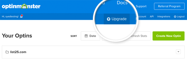Upgrade Account in OptinMonster