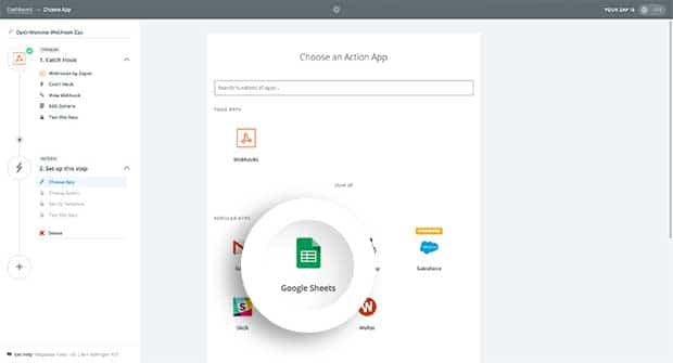 Choose from the Apps available in Zapier to use as your Action.