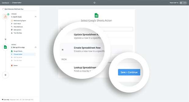 Choose Create a Spreadsheet Row as the Google Sheets Action.