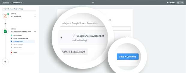 Once you've connected your Google Sheets account, select it then continue to the next step.