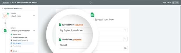 Choose the Spreadsheet and Worksheet to add data to.