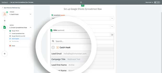 You'll now be able to link the specific data objects to the Columns of your Spreadsheet.