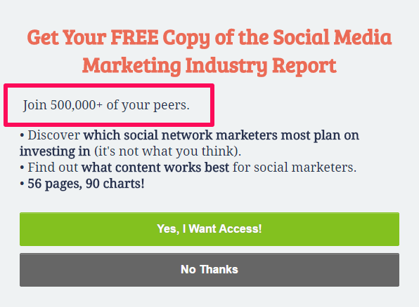 The social proof in this optin is above the copy